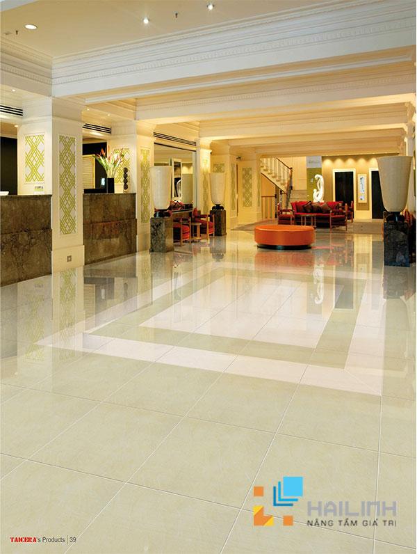 Chọn gạch lát nền phòng khách tạo nên không gian thoáng và rộng
